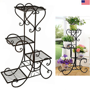 Image Is Loading 4 Tier Metal Shelves Flower Pot Plant Stand