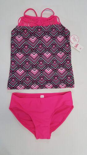 NWT Justice Kids Girls Size 10 PLUS Pink Black Macrame Tankini Bathing Suit