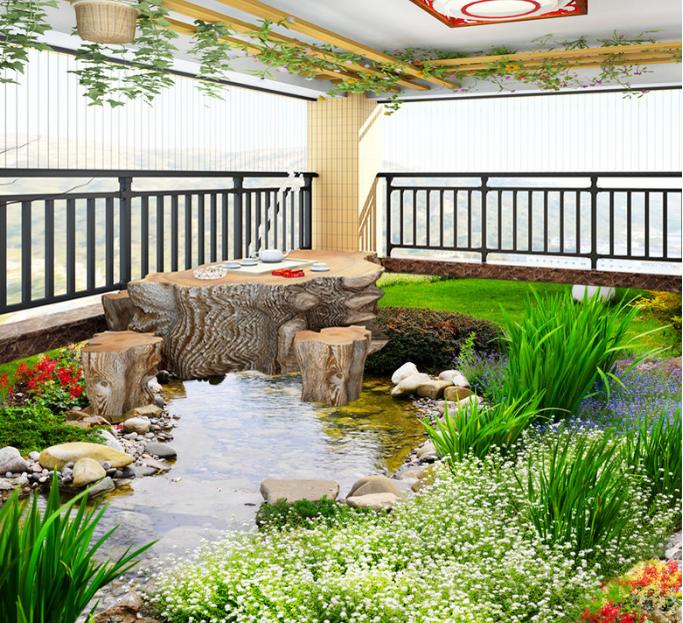 3D Flower Grass River 89 Floor WallPaper Murals Wall Print Decal AJ WALLPAPER US