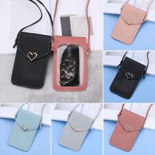 Women Fashion Heart-shaped PU Crossbody Bag Touch-Screen Mobile Phone Bag