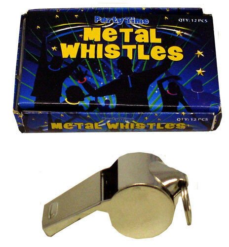 24 Metal Whistles,football, carnival,.sports,schools,Referee,16mm split ring inc