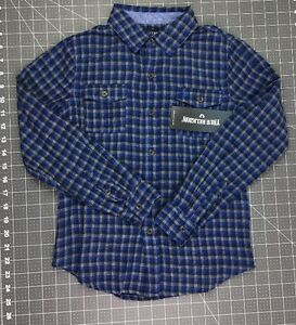 NEW-Boys-5-or-7-True-Religion-Woven-Plaid-Long-Sleeve-Dress-Shirt-Blue-Front-Pkt