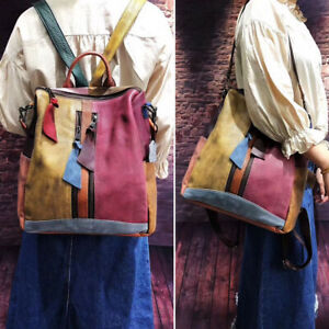 2-Way-Multicolor-Vintage-Patch-Brushed-Real-Leather-Backpack-Purse-Shoulder-Bag