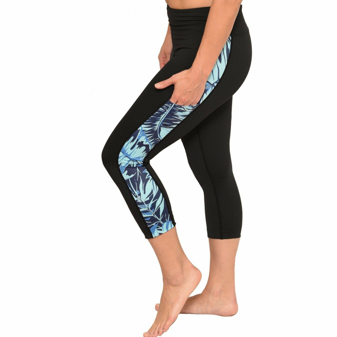 Ori Active Tropical Fern Crop Yoga Pants Hawaiian Workout Clothes New