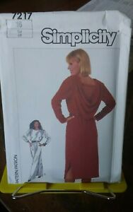 Oop-Simplicity-7217-misses-back-drape-cowl-dress-gown-loose-sz-16-NEW