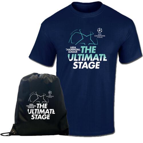UCL blau schwarz Exklusiv: UEFA Champions League T-Shirt und Gymsack