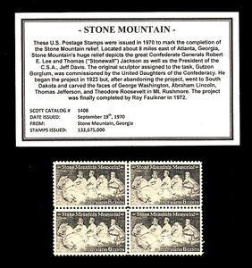 1970-STONE-MOUNTAIN-Mint-MNH-Block-of-Four-Vintage-Postage-Stamps