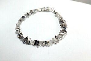 Wow-Top-Quality-Herkimer-Diamond-Quartz-4-5mm-Point-Chips-Nuggets-Beads-Bracelet