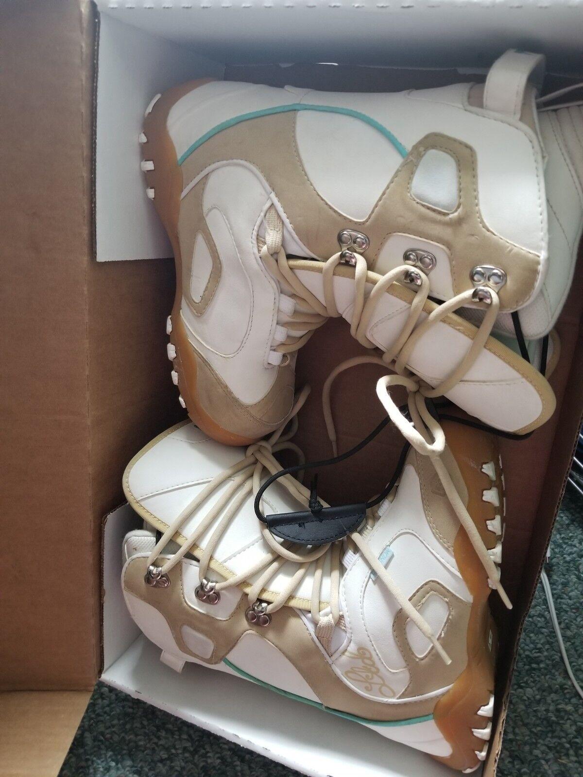 LTD Women's Snowboard Winter Boots Sz Us 7 Eur 37.5 Brown  White Mountain Lac Up