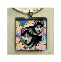 Siberian Husky Dogs Necklace Jewelry Art Gift Charm Glass Tile Pendant & Chain