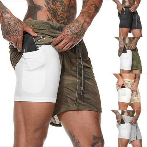 Mens 2 in 1 Sports Gym Beach Shorts Workout Fitness Elastic Bottoms with Pockets