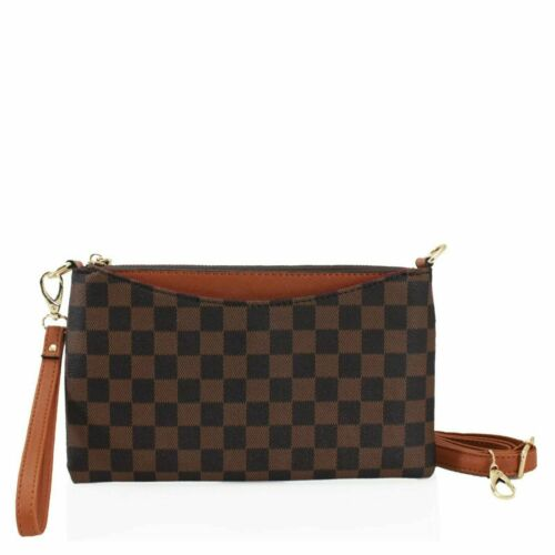 Women Soft Faux Leather Checkered Purse Small Wristlet Wallet Ladies Coin Purse