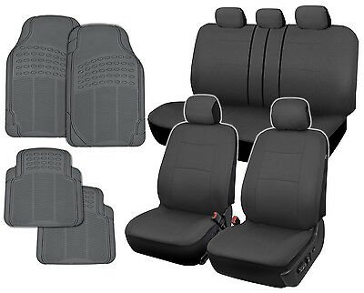 Front Rear Gray Polyester Cloth Split Bench Car Seat Covers Rubber Floor Mats Ebay