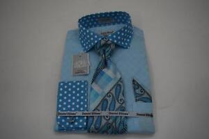New-Daniel-Ellissa-Polka-Dot-Collar-Cuffs-Jacquard-TurquoiseDress-Shirt-DS3780P2