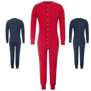 Zexxxy Mens Long Sleeve Crew Neck Cotton Thermal Jumpsuit Romper Bodysuit