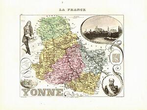 Carte du Département de l'YONNE- vers 1874. Migeon t9Akqphs-09121758-393202172