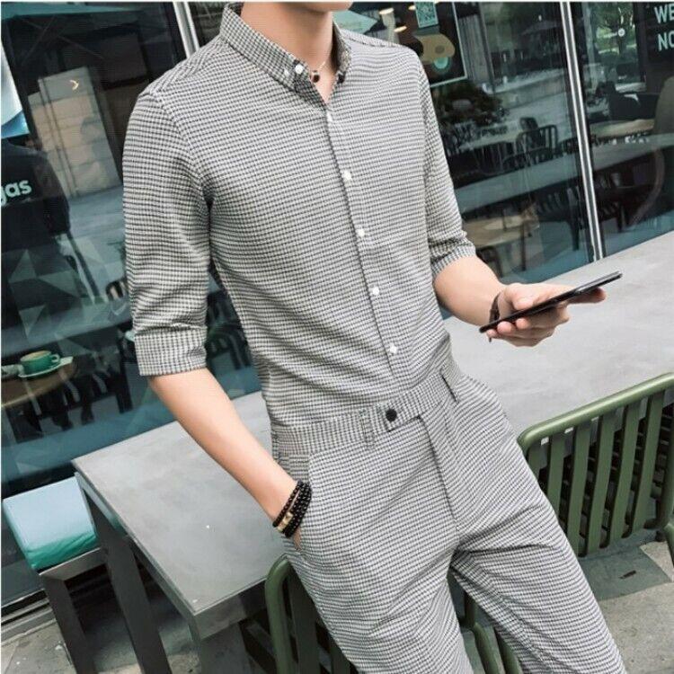 Mens 2pcs Suits Plaids Slim Fit Half Sleeve T-shirts+Ninth Pants Trousers hk15