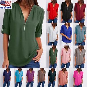 Women-Chiffon-Loose-Long-Sleeve-Blouse-Shirt-Sexy-Zip-V-Neck-T-Shirt-Casual-Tops
