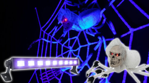180cm Spinnennetz HALLOWEEN SET: LED UV Bar UV aktiv Schwarzlicht 70cm Spinne