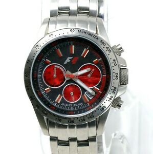 Jacques-Lemans-F5006K-F1-Chronograph-Women-039-s-Red-Stainless-Steel-Watch-Swiss