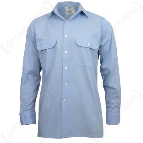 Ejército Militar Superávit Abotonar Original Alemán Azul Claro Servicio Camisa