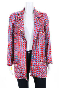 Edward Achour Womens Open Front Tweed Jacket Red Blue Size FR 46