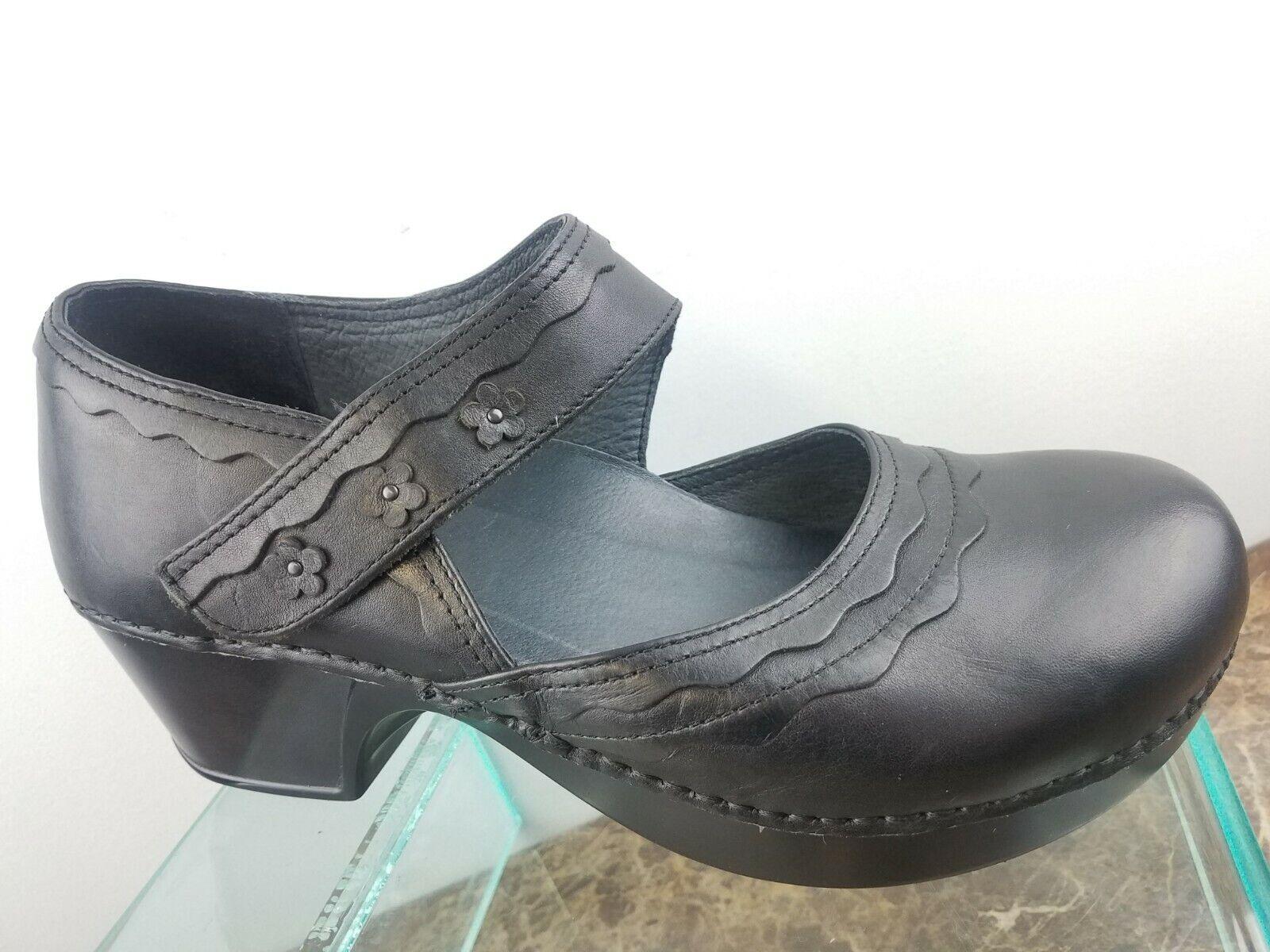 Dansko Mary Jane Cuero Negro Negro Negro Resbalón en Zapatos Zuecos Comodidad floral para mujer 11 41  precio mas barato