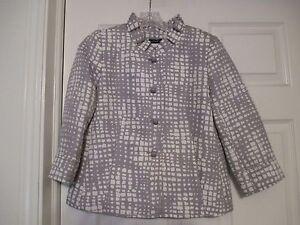 J-Crew-Linen-Cropped-Blazer-Jacket-Gray-amp-White-Size-0-Womens