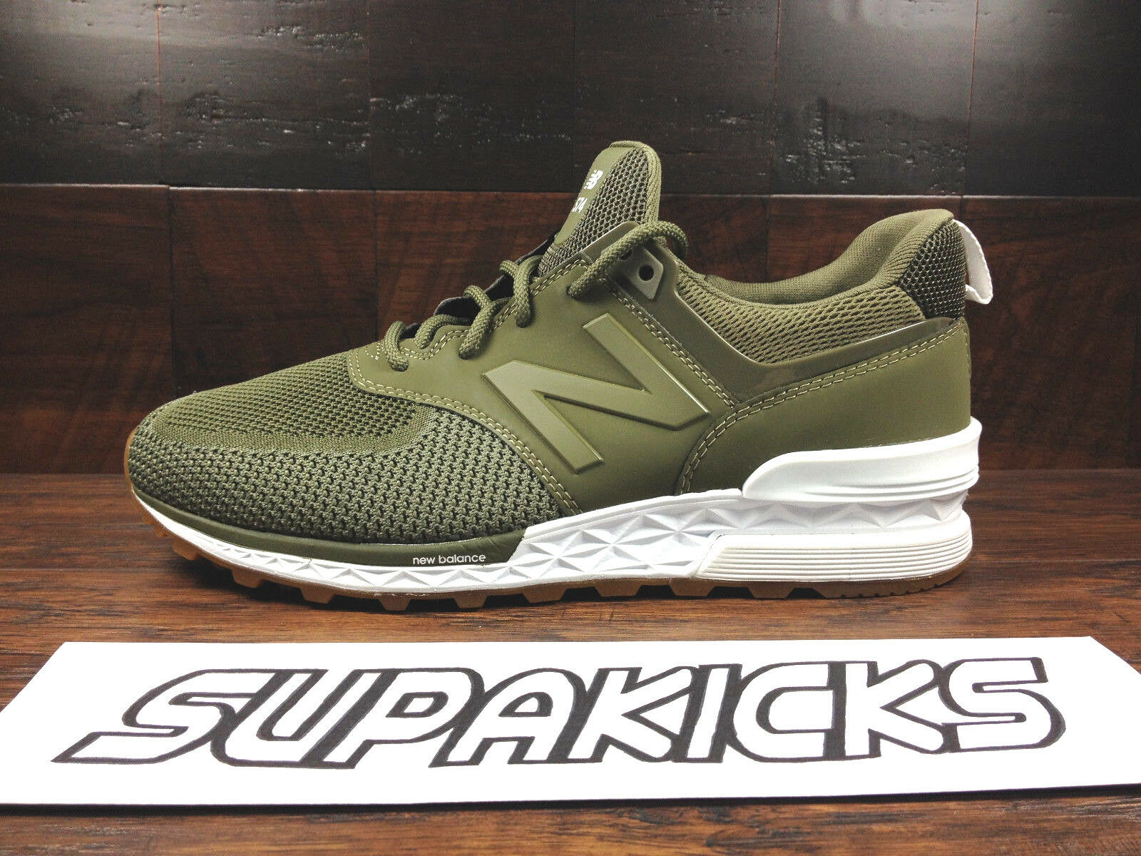 NEW BALANCE MS574EMO KNIT 574 (Military Green Olive   Gum) FRESH FOAM Mens 8-12