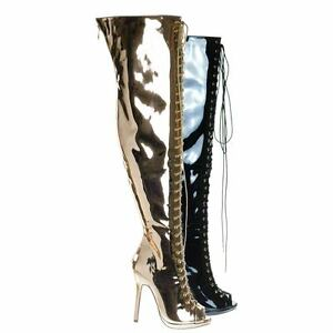 1c3ae411e5 Opus1C Corset Military Lace Up OTK Over Knee Thigh High Boots w Heel ...
