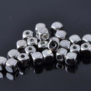 Lot 50 Perle Cube 3mm Argente Acrylique perle intercalaire creation bijoux