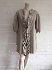 Giambattista Valli knee-length ruffle trim leather coat  Size I 42 UK 10 US 6 S