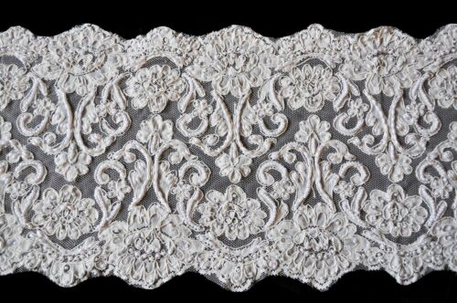"10.5"" Ivory Corded Handsewn Beaded Sequins Embroidered Lace by Yardage"