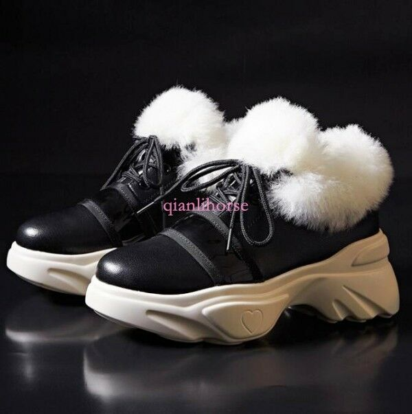 mujerBoard Street Warm Casual Sport Wedge Lamb zapatos  Real Leather Lamb Wedge Snow zapatilla de deporte 3c9d5a