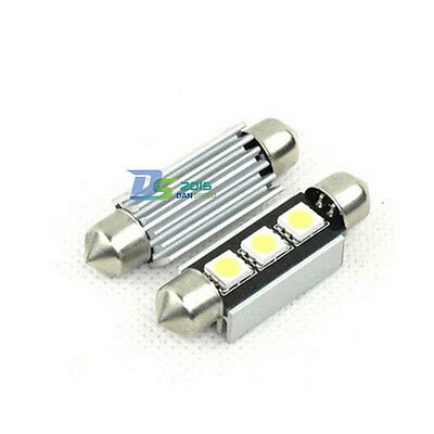 2pc 3 LED 5050 Car Festoon Canbus Bulb Light Interior Dome Lamp Bulb 39mm White