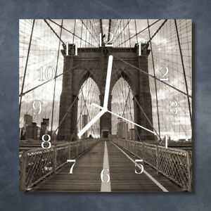 Glass-Wall-Clock-Kitchen-Clocks-30x30-cm-silent-Bridge-Grey