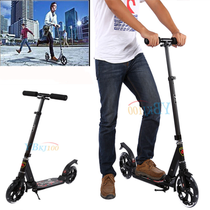 Folding Scooter Bike Big Wheel Adult Scooter Suspension Adult Wheel Child Commuter W/ Grips b9f0ac