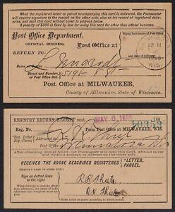 Registro Retorno Receipt-Milwaukee Wis. 1896 Cualquier 5=