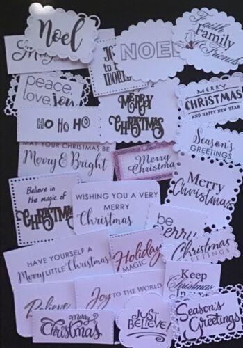 Merry Christmas Sentiment 2 Bulk Card Toppers //Scrapbooking Embellishments.