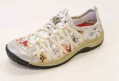 Rieker Slipper Sneaker Leandra L0559 81 ice weiß mulit sportlicher Gummizug