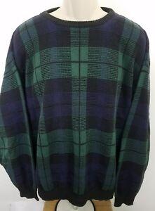 vintage-Jack-Nicklaus-size-large-plaid-golf-sweater-green-black-purple-1215