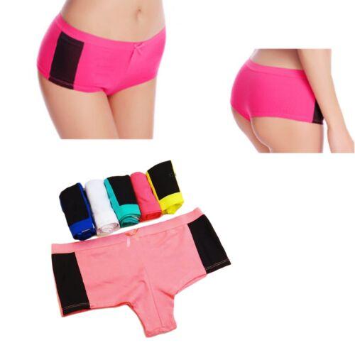 2 Pair Ladies Contrast Sides Underwear Knickers Briefs Panties Boxer Boy shorts