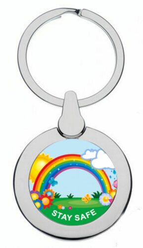 RAINBOW IN THE SUN AND RAIN STAY SAFE LOCKDOWN SILVER COLOUR KEYRING
