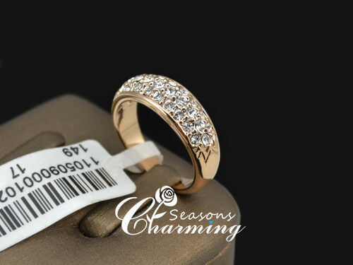 Classic 18K Rose Gold Plated Cubic Zirconia Stone Wedding Ring Finger Ring