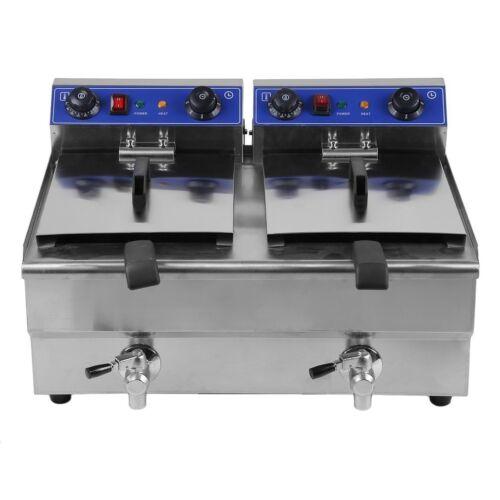 26L Dual Tanks Electric Deep Fryer Commercial Tabletop Fryer with Nasket Scoop!