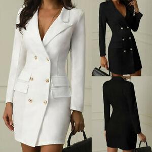 Femmes-Manches-Longues-Bodycon-Blazer-Travail-De-Bureau-Robe-Soiree-Manteau-Haut