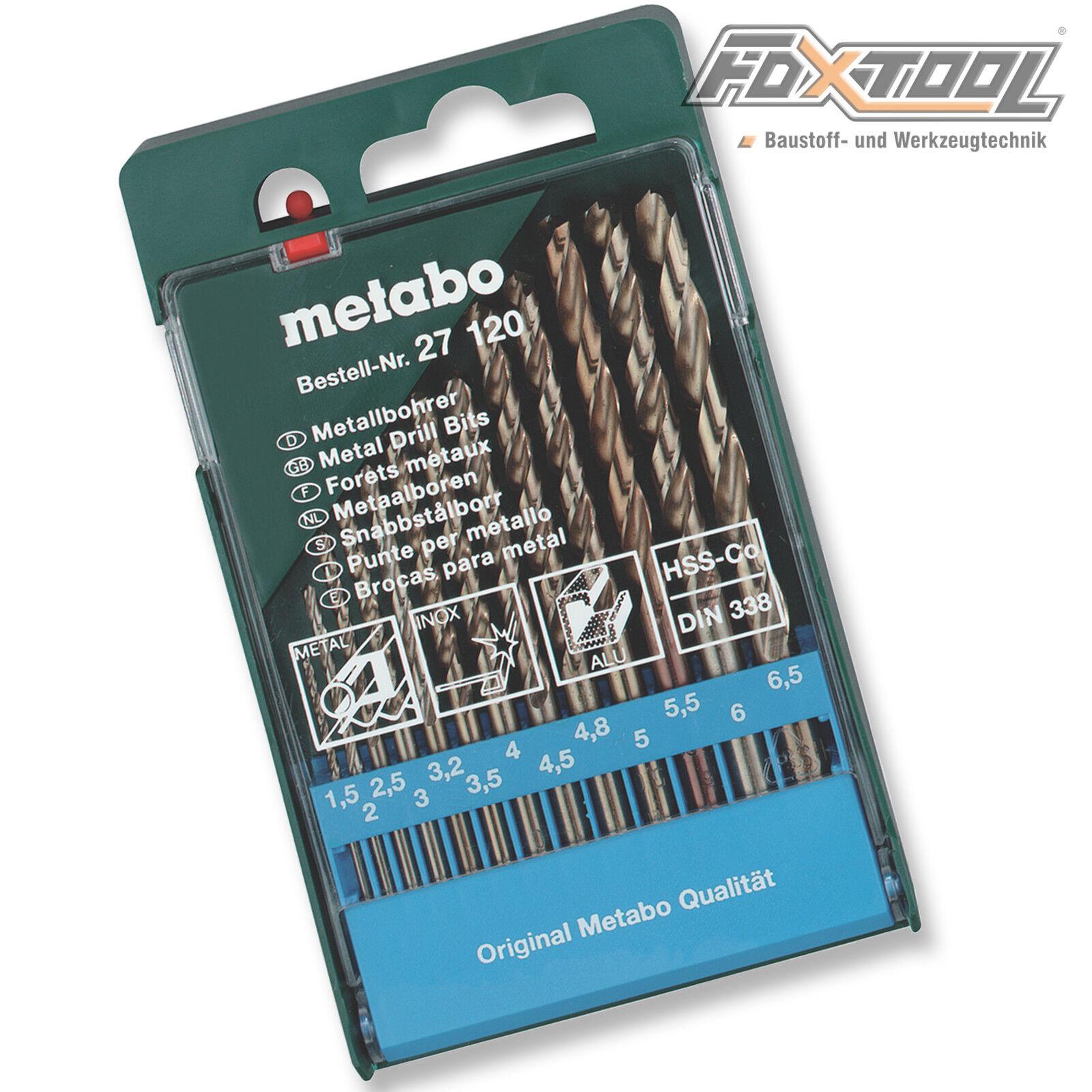 Metabo Metallbohrer-Box HSS-Co DIN338 Stahl Metall Bohrer Kassette 13-teilig