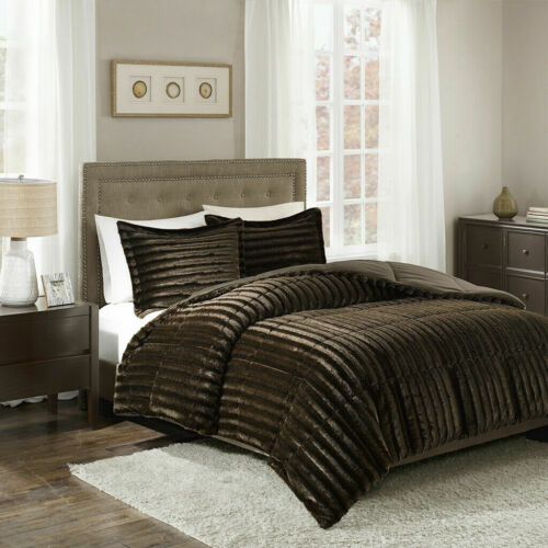 NEW ~ ULTRA SOFT PLUSH CHOCOLATE BROWN COZY FUR ~ LUXURY LUXURIOUS COMFORTER SET