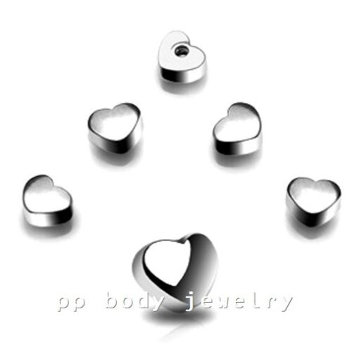 1PC 14g~6mm Steel Threaded Heart Shape Logo Replacement Tonuge Barbell Top Part