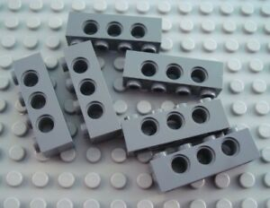 LEGO Lot of 6 Dark Bluish Gray 1x6 Technic Brick Pieces